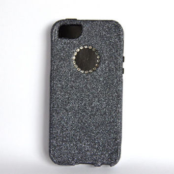 Swarovski Crystals Custom iPhone 5 Glitter Otterbox Commuter Cute Case,  Custom  Glitter Hematite/Black Otterbox Color Cover for iPhone 5