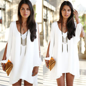 Women Cocktail Evening Party Beach Chiffon Mini Casual Dress