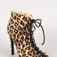 Qupid Interest-93 Leopard Lace Up Peep Toe Ankle Bootie