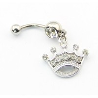 316L Surgical Steel 14 Guage Princess Queen Tiara Crown Dangle Banana Belly Navel Ring Bar Barbell Button Body Jewelry
