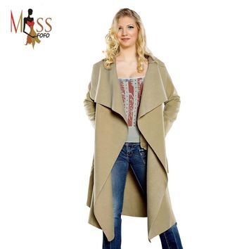 MISS FOFO 2016 new spring fashion/Casual women's wool blend Trench Coat long Outerwear loose clothes for lady good quality
