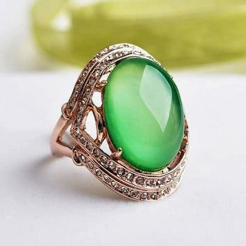 Women Natural Stone Big Opal Green Ring