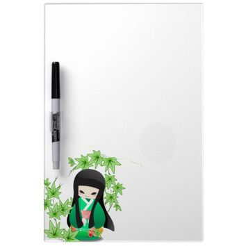 Japanese Geisha Doll - green series Dry-Erase Whiteboards from Zazzle.com