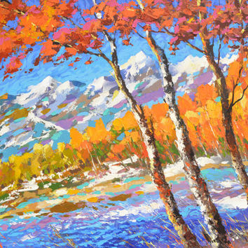 SALE Symphony of autumn- Original oil painting on canvas by Dmitry Spiros. Size: 24 x 32 in (60 x 80 cm)