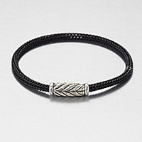 David Yurman - Sterling Silver Chevron Woven Rubber Bracelet - Saks Fifth Avenue Mobile