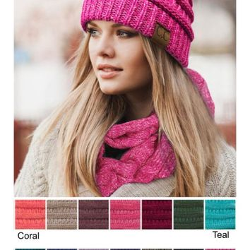 CC Cable Knit Two Tone Beanie