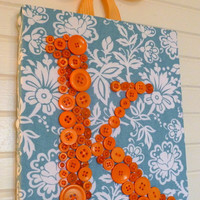 Custom Button Letter Wall Art Orange by letterperfectdesigns