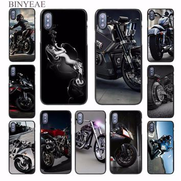 BINYEAE Classic Motorcycle design hard black Case Cover for Apple iPhone 8 8 Plus 8x SE 5s 6 6s 6 Plus 6s Plus 7 7Plus