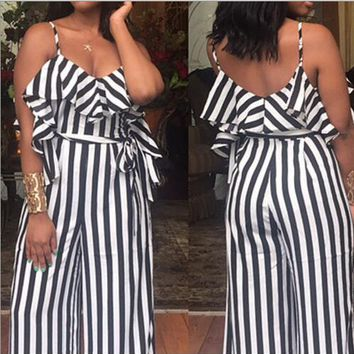 White and Black Striped Strapy Jumpsuit