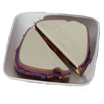 Handmade Polymer Clay Food - Peanut Butter & Jelly Sandwich for 18 Inch Dolls Like American Girl