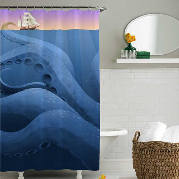 giant octopus attacking the ships digital shower curtain,shower curtain size 36x72 48x72 60x72 66x72