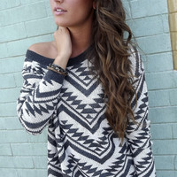 Cozy Aztec Sweater {Charcoal}
