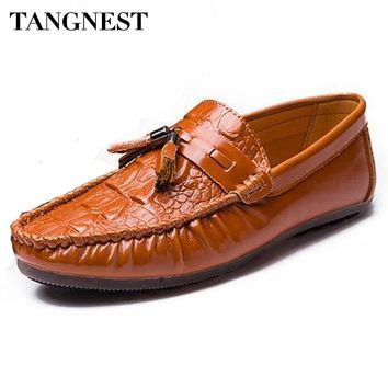 Tangnest New Men Tassel Loafers Luxury Soft Leather Men Slip On Flats Casual Moccasins Driver Shoes For Male Black Brown XMR2521