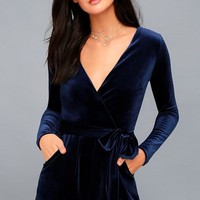 Romantic Moves Navy Blue Velvet Long Sleeve Romper