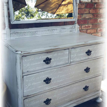 Chippy dresser with mirror, Distressed dresser, Antique dresser, shabby chic dresser, nursery room,  pink dresser, pink dresser and mirror