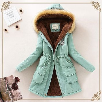 2015 Thickening Warm Winter Fur Collar Jackets for Women New Women's Long Down Parka Plus Size Parka Hoodies Parkas for Women