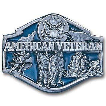 Sports Jewelry & AccessoriesSports Accessories - American Veteran Enameled Belt Buckle