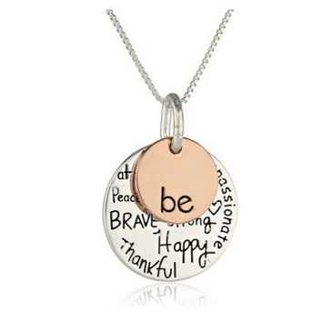 "Two-Tone ""Be""  Gold And Silver Pendant Necklace – FREE Shipping"
