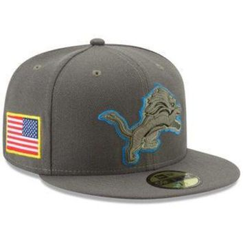 DCCKG8Q NFL Detroit Lions 2017 Onfield Salute to Service 59fifty Fitted Hat
