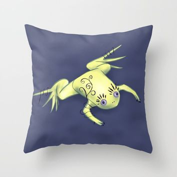 Funny Frog With Fancy Eyelashes Digital Art Throw Pillow by borianagiormova