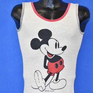 80s Mickey Mouse Waffle Knit Tank Top t-shirt Extra Small