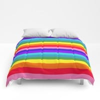 Stripes of Rainbow Colors Comforters by Celeste Sheffey of Khoncepts