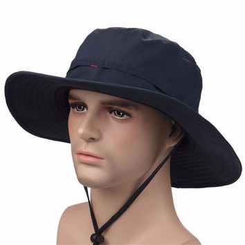 Men Women Wide Brim Outdoor Fishing Hiking Hunting Bucket Cap UV Protection Sun Hat