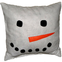 Snowman Pillow Cover, Applique Pillow, Home Decor, Decorative Pillow Covers, Accent Pillow Cover, Holiday Pillow Cover - Made to Order