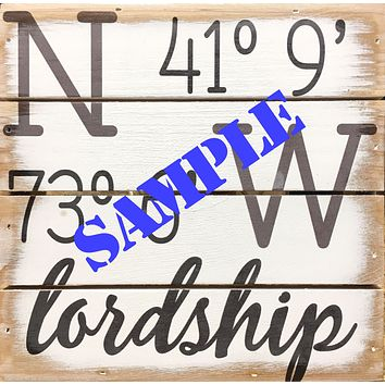 Personalized Weathered Coastal Plank Board Sign with Your Coordinates - 8-in