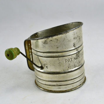 Flour Sifter - Green Wood Knob Crank Handle - Vintage Farmhouse Primitive - Small 1 Cup - Patent Number - Hoosier Cabinet Ready