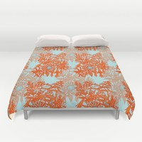 Orange and blue floral pattern Duvet Cover by Heaven7