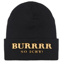Black Burrrr Beanie with Gold Embroidery, Model Cara Delevingne in the new BURRRR SO ICY beanie