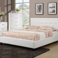 Poundex F9247 5 pc upton collection white faux leather upholstered and tufted queen bed set
