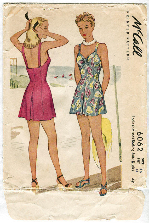 1940s vintage sewing pattern one piece from RosebudPatterns