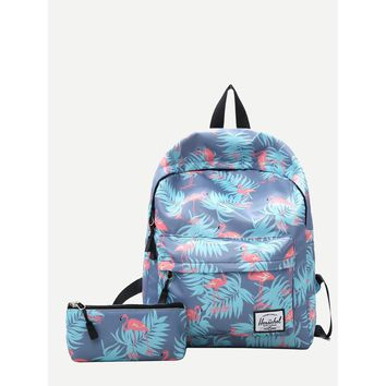 Flamingo Print Backpack With Clutch Bag