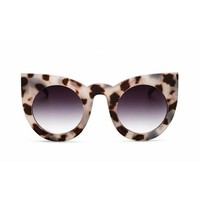 Womens Winged Kitty Cat Eye Light Tortoiseshell Tea Lens Sunglasses