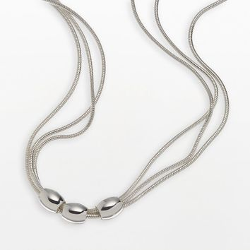Napier Beaded Triple Snake Chain Necklace (Grey)