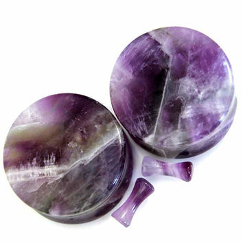 Ear Plugs Organic Stone Ear Gauges Purple Amethyst -SoScene