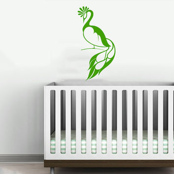 Peacock Bird Animal Wall Vinyl Decal Sticker Children Boy Girl Kids Baby Room Nursery Design Interior Decor Bedroom SV4555