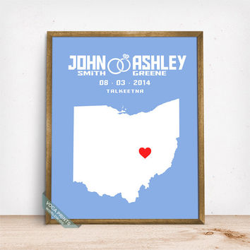 Ohio Map Print, Wedding Print, Anniversary Gift, Custom Art, Wall Decor, Wedding Decor, Home Decorations, Mothers Day Gift