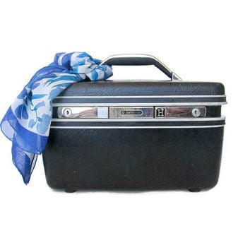Samsonite Train Case Vintage Luggage Navy Blue