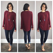 A Loose Long Sleeved Tee in Cardinal Red