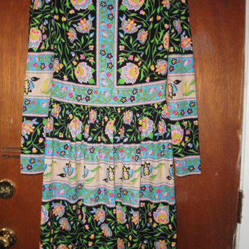 Womens Vintage Mr. Dino Dress Colorful Floral Print 8