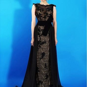 [119.99] Charming Lace & Chiffon Bateau Neckline A-Line Evening Dresses With Lace Appliques - dressilyme.com