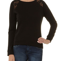 Black lace insert sweater - Dorothy Perkins