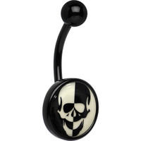 Glow in the Dark Titanium Inverted Skull Belly Ring | Body Candy Body Jewelry