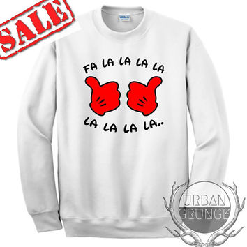 fa la la la christmas sweater- unisex crewneck- christmas sweater- ugly christmas sweater-mickey mouse fa la la la sweater-christmas sweater
