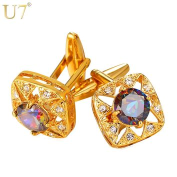 U7 Square Crystal Cufflinks Gold Color AAA Cubic Zirconia Cuff Link Button Trendy Jewelry With Box For Men Gift Luxury C005