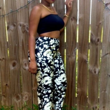 Retro Black and White floral printed Giorgio Fiorlini High-waisted pants