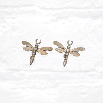 Vintage Sterling Dragonfly Earrings Screw Back c. 1930s Sterling Silver Art Deco Earrings
